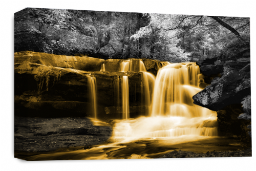 Waterfall Wall Art Orange Grey White Landscape Canvas Forrest Picture